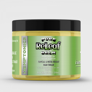 Releaf Balm with 1000 mg high absorption nano-CBD and 11 Essential Oils.